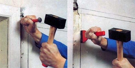 Штробление стен молотком и стоместкой