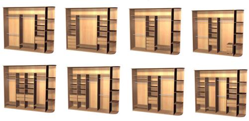 Расположение полок в шкафу