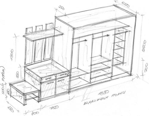 Схема шкафа из гипсокартона